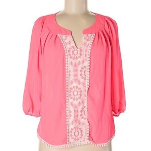 MY MICHELLE Lace and Pom Fringe Summer Blouse